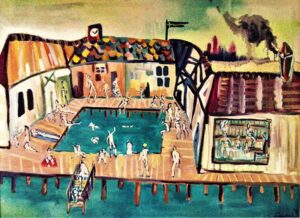 THIRD PLACE: Malmo's Sauna, Mixed Media by Elena Gastón-Nicolás, 36in x 48in, $3400 (August 2020)