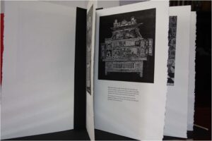 Papa Will's Miniature Village, Artist's Book-Wood Engravings-Letterpress-9 pages by Pamela Harris Lawton, 15in x 11in x .5in, $500 (August 2020)