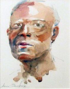 Portrait in Watercolor, Watercolor by Idania Zamkovsky, 14in x 11in, $150 (August 2020)