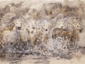 Spirits Run, Watercolor by Mary Peterman, 9in x 12in, $250 (August 2020)
