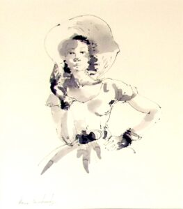 Sunday Afternoon, Pen & Ink by Idania Zamkovsky, 16in x 14in, $150 (August 2020)