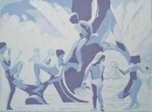 Youth and the Fountain, Screen Print by Sally Rhone-Kubarek, $180 (Aug. 2020-Jan. 2021 CBTC)