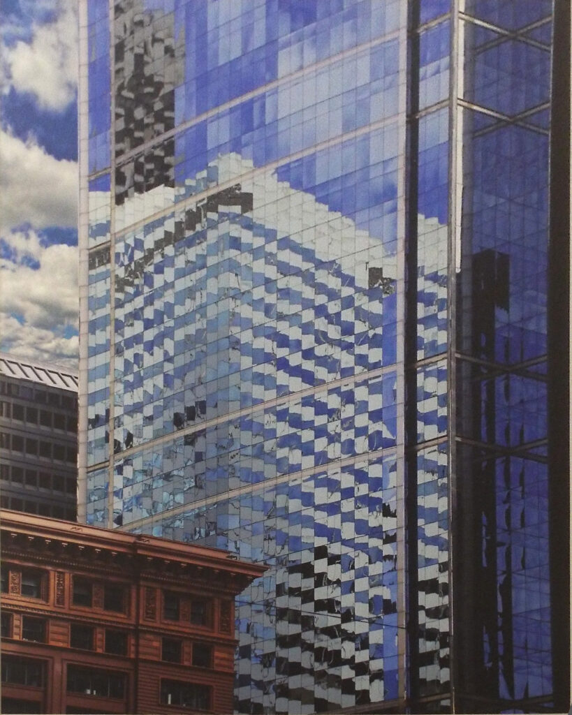 HONORABLE MENTION: Blue Checkered Bldg Downton, Archival Metallic Photo by Deborah D. Herndon, 20in x 16in, $295 (September 2020)