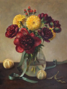 Bold Blooms, Oil on Wood by Christine Dixon, 16in x 12in, $350 (September 2020)