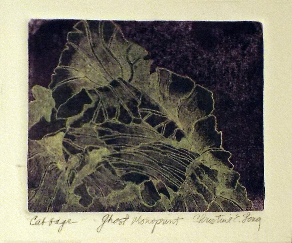 HONORABLE MENTION: Cabbage, Monoprint Ghost by Christine E. Long, 5in x 6in, $190 (September 2020)
