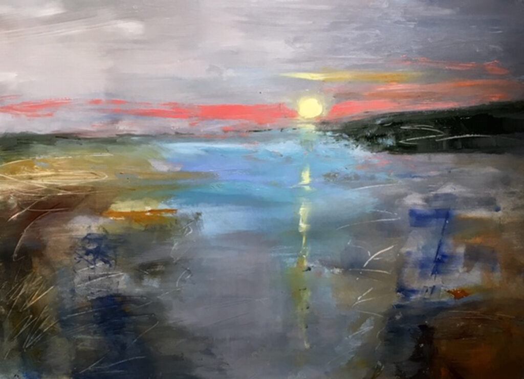 THIRD PLACE: Carolina Sunrise, Acrylic by Barbara Taylor Hall, 21in x 29in, $700 (September 2020)