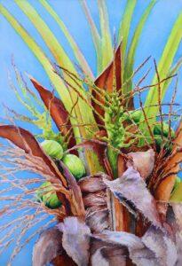Coconut Tree, Watercolor by Lizabeth Castellano-King, 22in x 15in, $750 (September 2020)
