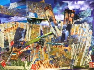 Don't Read too Much into This, Mixed Media, Collage & Acrylic Paint by Elizabeth Shumate, 18in x 24in, $465 (September 2020)