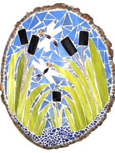 Dragonflies Dance, Glass Mosaic on Basswood by Beverly Brown, 14in x 11in, $110 (September 2020)