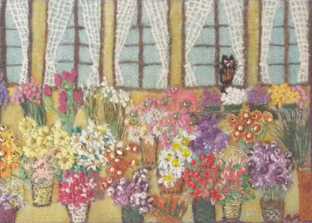 HONORABLE MENTION: Marché aux Fleurs Provençal, Needle Painting by Anne McCahill, 5in x 7in, $200 (September 2020)