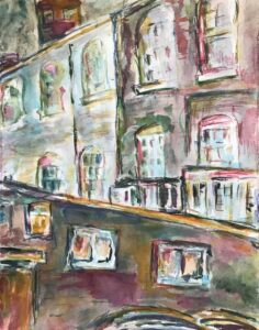 Side Street, Watercolor on Paper by Elizabeth Shumate, 14in x 11in, $225 (September 2020)