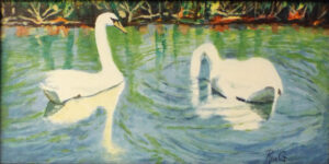 Swans, Acrylic on Panel by Roxana Genovese, 8in x 16in, $175 (September 2020)
