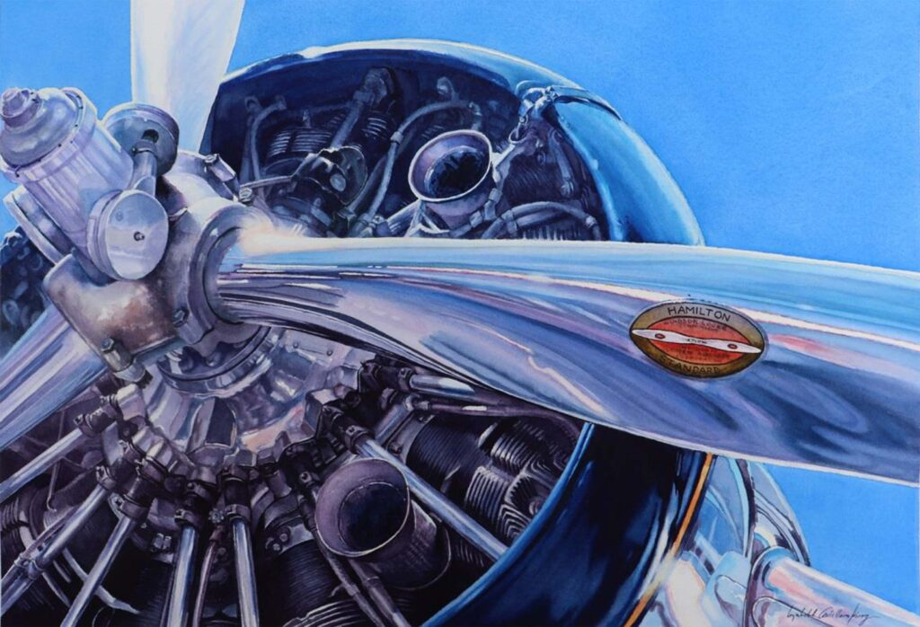 SECOND PLACE: Vintage Flight, Watercolor by Lizabeth Castellano-King, 15in x 22in, $1200 (September 2020)