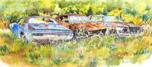 3 Dead Mopars, Watercolor by Kit Paulsen, 11in x 25in, $650 (October 2020)