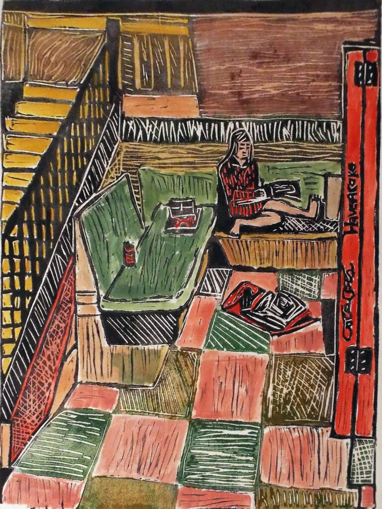 HONORABLE MENTION: Art School Hallway, Lino Cut by Linda Larochelle, 24in x 18in, $350 (October 2020)
