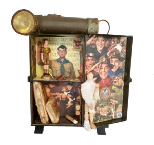 Be Prepared, Assemblage-altered first aid kit by Kathleen King Mullins, 7in x 12in x 2in, $90 (October 2020)