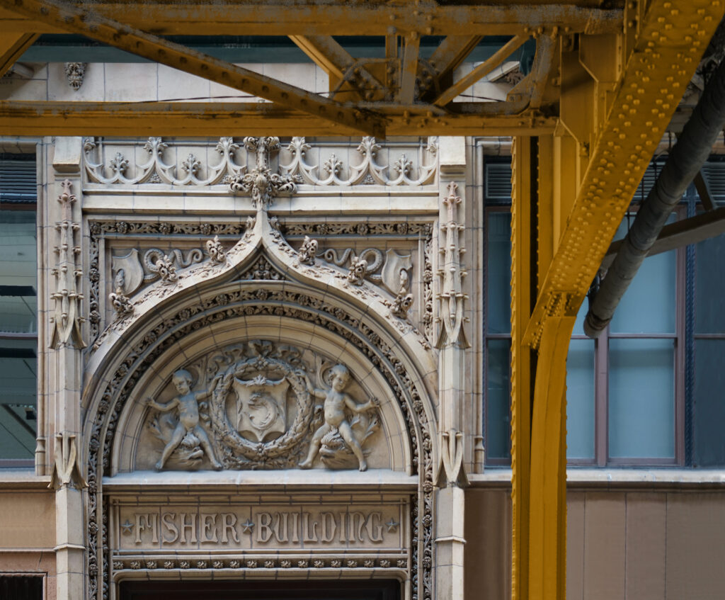 FIRST PLACE: Fisher Building & EL Girders (1896 & 1892), Archival Metallic Photo by Deborah D. Herndon, 24in x 29in, $295 (October 2020)