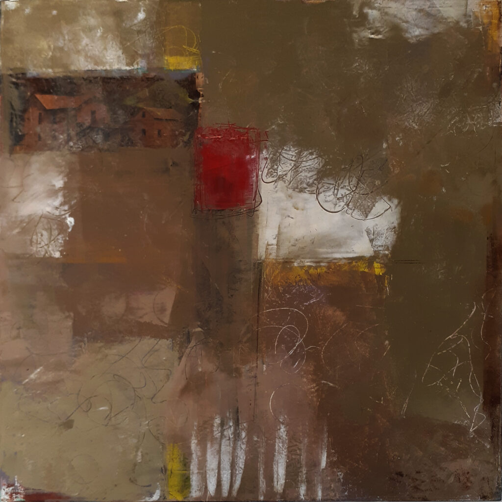 THIRD PLACE: Homestead, Cold Wax-Oil & Collage by Bob Worthy, 18in x 18in, $350 (October 2020)