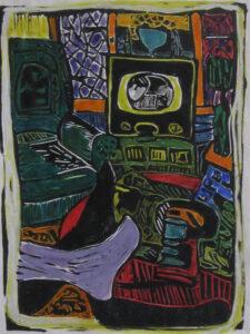 Long Ago Room, Lino Cut by Linda Larochelle, 12in x 9in, $150 (October 2020)