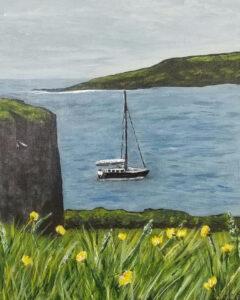 Moored off the Kinsale Coast, Ireland, Acrylic by Jane Cariker, 10in x 8in, $200 (October 2020)
