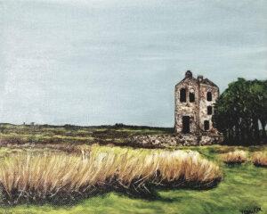 Ruinsat Bodmin Moor, Cornwall, England, Acrylic by Jane Cariker, 8in x 10in, $200 (October 2020)