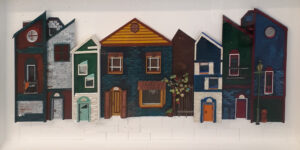 Side Street U.S.A, Paper Construction by Katharine K. Owens, 19in x 38in x 3in, $3995. (October 2020)