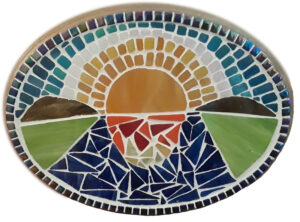 Sunrise On The Rappahannock, Glass Mosaic on Wood By Beverly Brown, 9in x 12in x 1in, $80 (October 2020)
