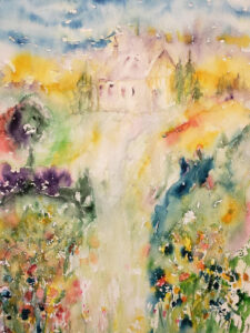 The Church on the Hill, Watercolor by Mary Peterman, 24in x 18in, $450 (October 2020)