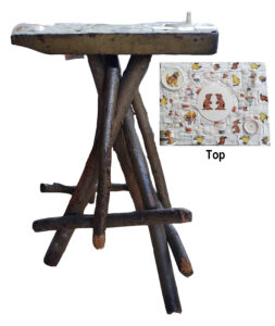 Twig Table, Twig Table with Mosaic Top by Joan Powell, 22in x 13in x 10in, $200 (October 2020)