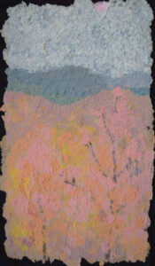 When the Blue Ridge Turns Gold, Pulp Painting-Recycled Jeans-Mat Board by Jennifer Glavin, 24in x 14in, $300 (October 2020)