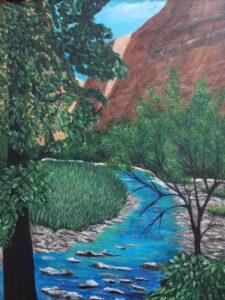 Zion River Walk, Acrylic by Jane Cariker, 16in x 12in, $400 (October 2020)