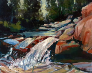 Falls on the Run, Oil by Marcia Chaves, 16in x 20in, $400 (November 2020)