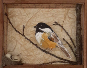 In My Backyard Series #1, Mixed Media Assemblage by Kathleen King Mullins, 7in x 9in x 2in, $90 (November 2020)