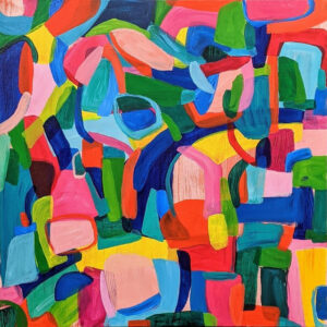 Jellybeans and Popsicles, Acrylic on Canvas by Ellyn Wenzler, 20in x 20in, $440 (November 2020)
