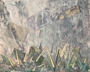 Lost in the Fog, Mixed Media Collage- Coldwax and Oil by Elizabeth Shumate, 16in x 20in, $425 (November 2020)