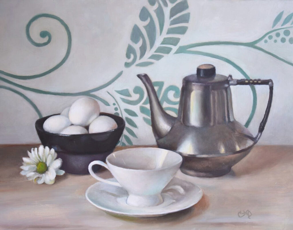 HONORABLE MENTION: Morning Motifs, Oil on Gesso Board by Christine Dixon, 11in x 14in, $450 (November 2020)