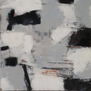 Mostly Black & White Series- Dreams, Oil & Cold Wax by Bob Worthy, 24in x 24in, $400. (November 2020)