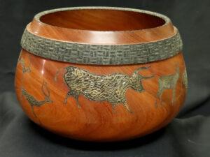 Neanderthal Cave Art Series #1 item #744, Charapilla Woodcraft Bowl by Steve Schwartz, 11 in dia. x 7in, $250 (November 2020)