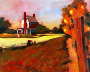 Wood Yard, Sussex Co., Oil by Marcia Chaves, 16in x 20in, $400 (November 2020)