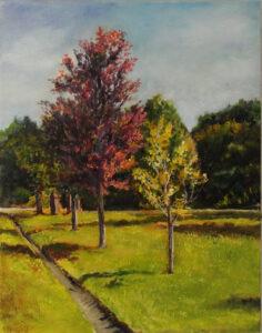 Autumn Splendor, Oil on Canvas by Michele Vonnegut Costello, 14in x 11in, $350 (Dec. 2020 - Jan. 2021)