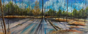 Like Glass Reflecting the Sky, Chalk Pastels by Stephanie Athanasaw, 9.75in x 25in, $300 (Dec. 2020 - Jan. 2021)