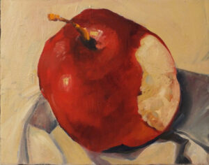 Red Delicious, Oil by Marcia Chaves, 11in x 14in, $185 (Dec. 2020 - Jan. 2021)