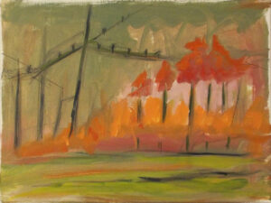 Some Where, Oil, Graphite on Canvas by Ginna Cullen, 9in x 12in, $200 (Dec. 2020 - Jan. 2021)