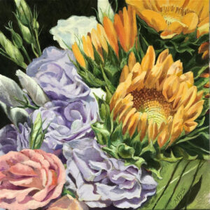 Sunflowers and Lisianthus, Acrylic on Canvas by Mary Beatty-Brooks, 12in x 12in, $400 (Dec. 2020 - Jan. 2021)