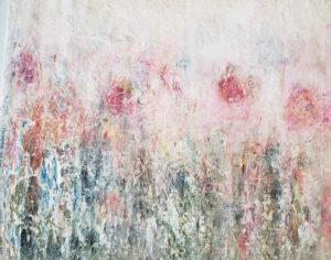 Winter Rose Garden, Coldwax- Oil by Mary Peterman, 11in x 14in, $350 (Dec. 2020 - Jan. 2021)