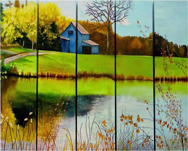 THIRD PLACE: Autumn in Hartwood Virginia, Collaborative Work, Acrylic by Ann Holt et.al.   (February 2015)