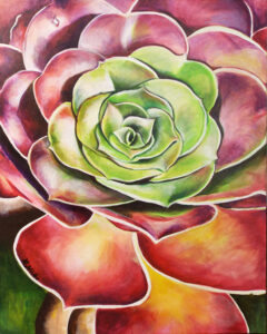 The Succulent, Acrylic on Canvas by Becky H Hubbard  (November 2015)