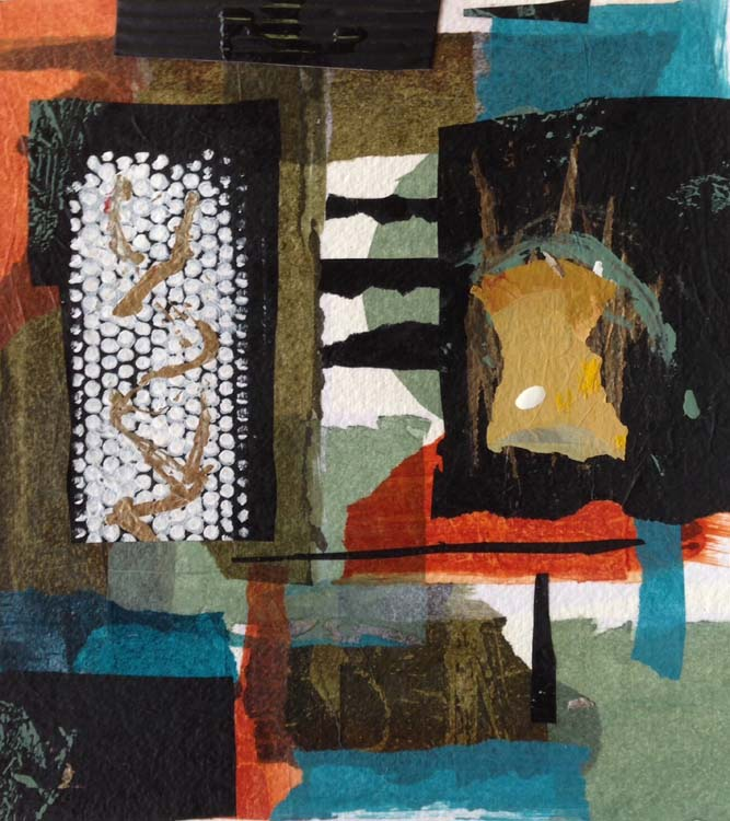 FIRST PLACE: What Lies Behind, Collage by Bev Bley (June 2015)