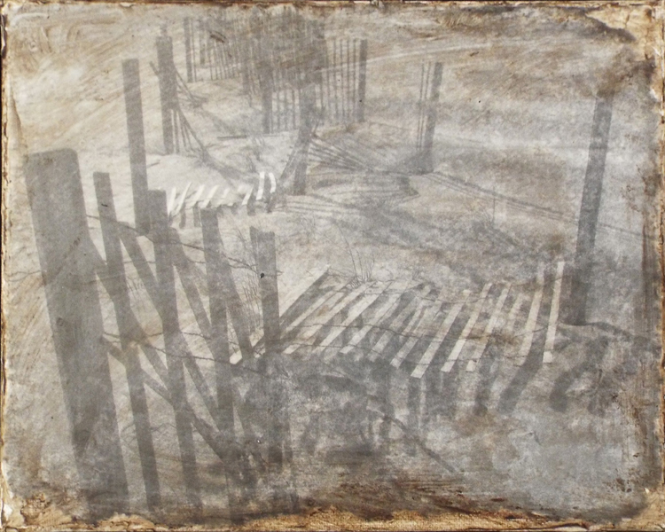 HONORABLE MENTION: Sand Dune Fencing #IV, Mixed Media by Bob Worthy  (November 2015)