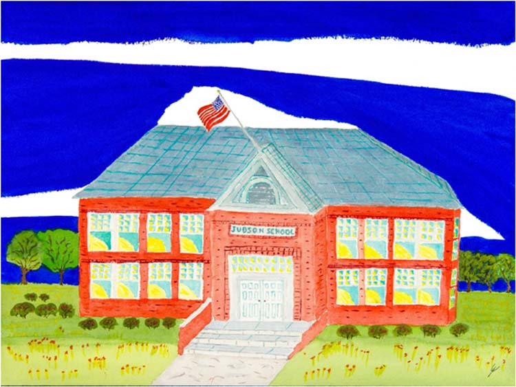 HONORABLE MENTION: Judson School Revisited, North Dakota, Watercolor by Bro Halff  (September 2015)
